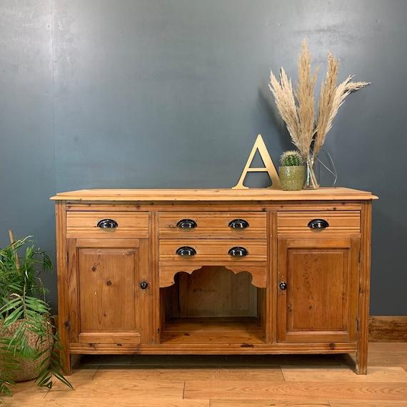 Pine Vintage Rustic Sideboard Cupboard Drawers Shabby Chic Rustic