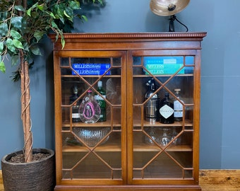 Vintage Glazed Bookcase / China Cabinet / Gin Cupboard /Curiosity Cabinet