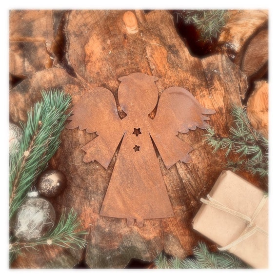Distressed RUSTY ANGEL Sign Metal Rustic Nordic Christmas decoration Ornament