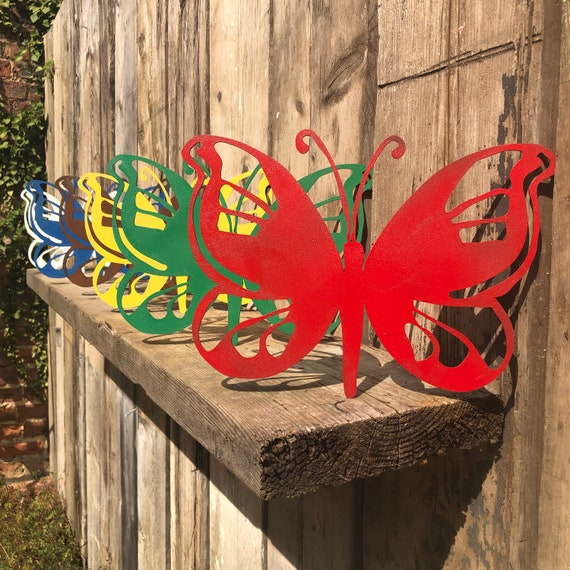 Rusted Rustic Coloured Metal butterfly Garden Ornament Sign plaque decoration