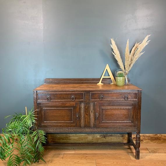 Vintage Rustic Antique Oak Edwardian Sideboard Buffet Cupboard Drawers