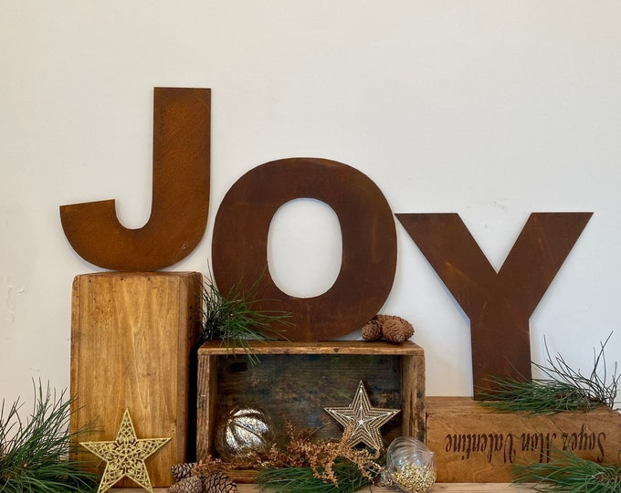 "JOY Christmas Decorations /Rusty Metal Letters / Fat Font 12"" /Xmas Decor / latter display / Christmas lettering / Christmas Joy sign"