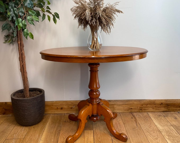 Antique Walnut Table / Occasional Table / Edwardian Tilt Top Table /  Console