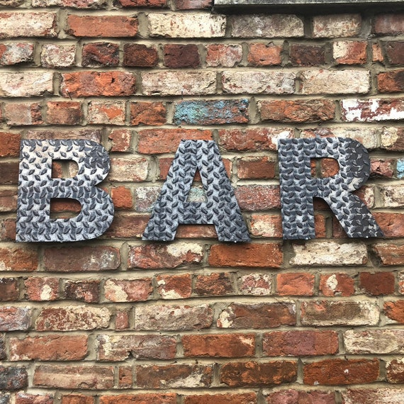 BAR INDUSTRIAL LETTERING Letters Metal Shop Home Sign Rustic Drinks Cocktails
