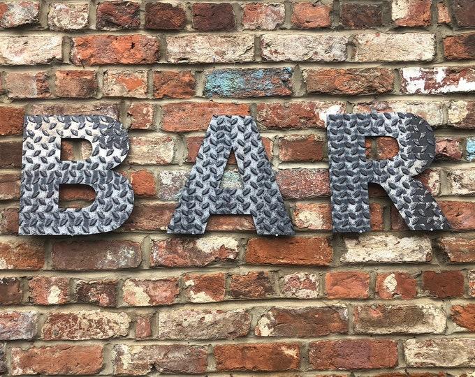 BAR INDUSTRIAL metal LETTERING , rustic metal Letters , Shop Sign , shop lettering , bar sign , drinks bar , mancave decor , bbq sign
