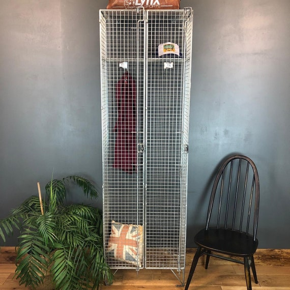 Industrial Metal Wire Mesh Tall Locker Interior Design Piece Double Wardrobe