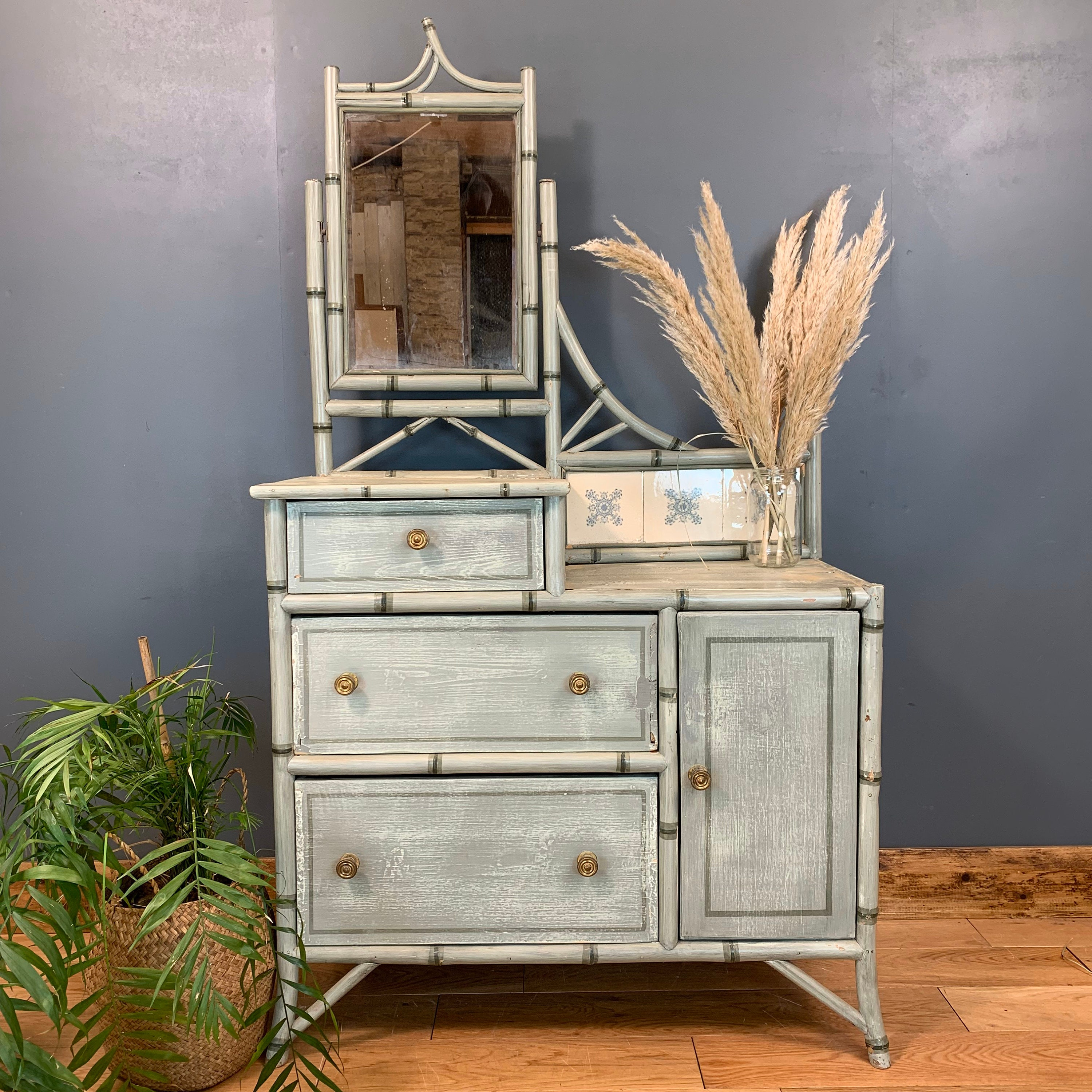 Vintage Dressing Table Chest Of Drawers Mirror Bedroom Dresser Faux Bamboo Boho
