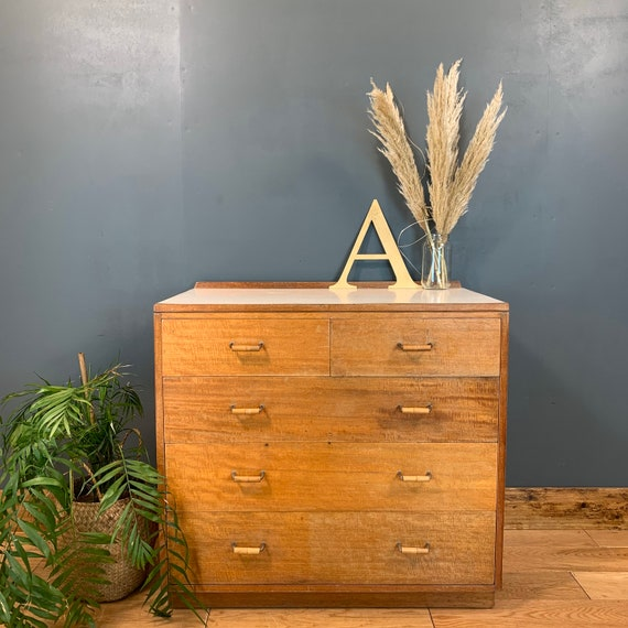 Vintage Retro MOD Chest Of Drawers Unit Sideboard Mid Century Bedroom Bamboo