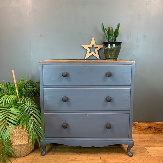 Vintage Upcycled Shabby Chic Chest Of Drawers Painted Light Blue Boho Walnut