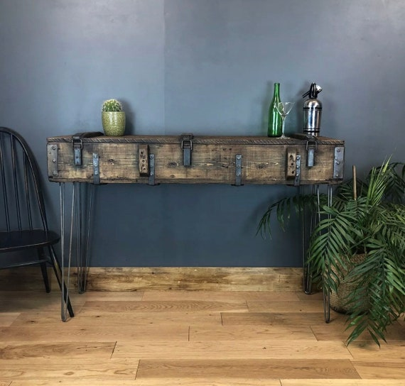Vintage Wooden Trunk Chest Box Rustic Industrial Hallway Table Sideboard console