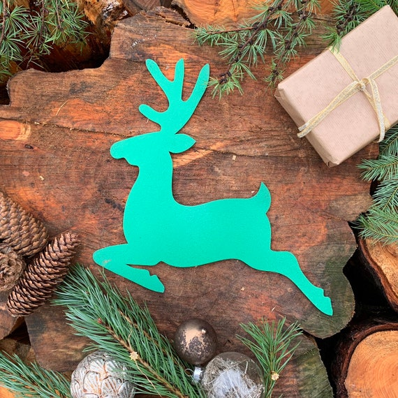 Rustic GREEN REINDEER Christmas deer Sign Metal Plaque Home decoration Nordic Rustic