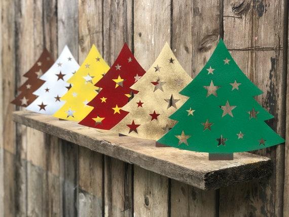 Rustic CHRISTMAS TREE Sign Metal Home decoration Ornament Winter Snow Fairy Elf
