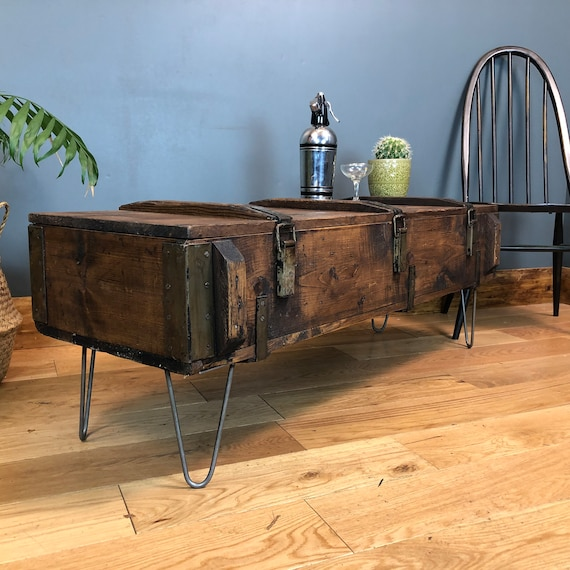 Vintage Trunk Chest box Rustic Pine Industrial Coffee Table Shabby Chic Storage