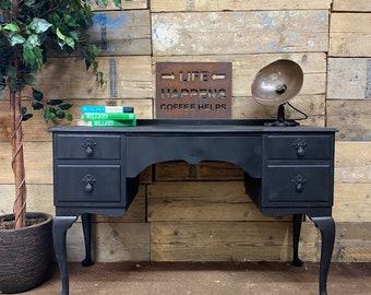 Vintage Black Desk / Writing Table / Mahogany Sideboard / Console / Desk