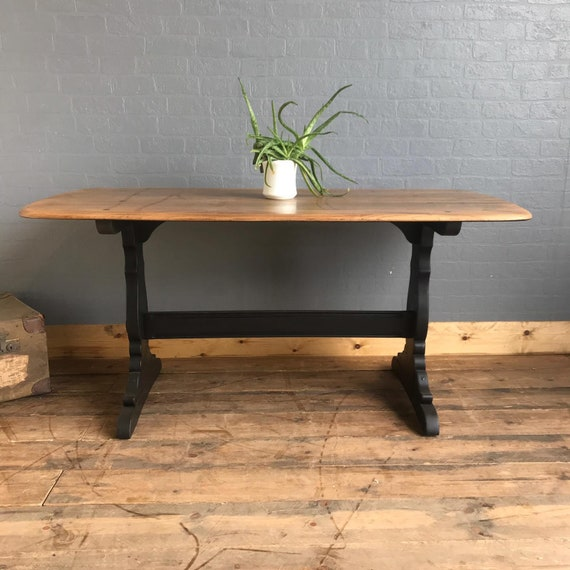 Rustic Rectangle Retro Elm Ercol Table Country KItchen Dining Shabby Chic Black