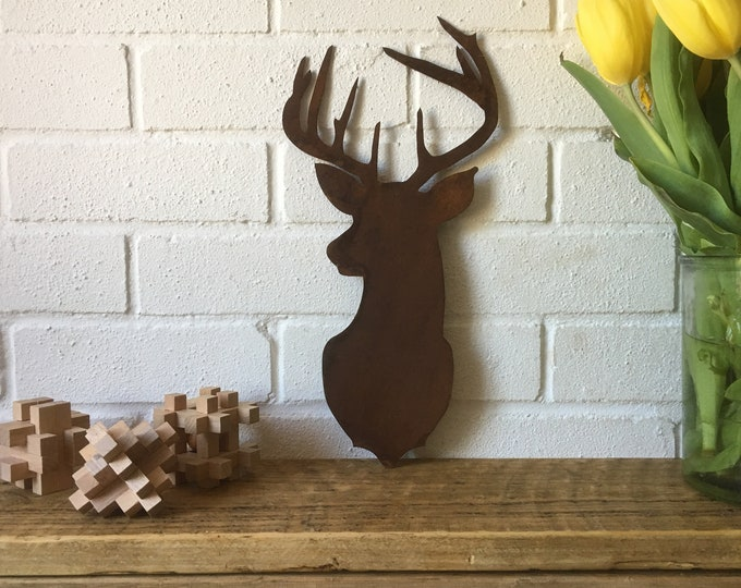 Rusty METAL STAGS HEAD ,  cow head  , skull  , Antlers Sign , Shop sign , Home bar , barbershop signs , shop display , garden decoration