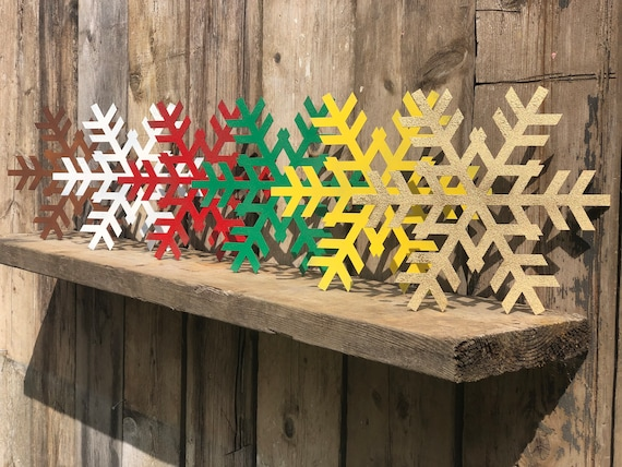 Rustic SNOWFLAKE Sign Metal Shop Home Christmas decoration Ornament Winter Snow