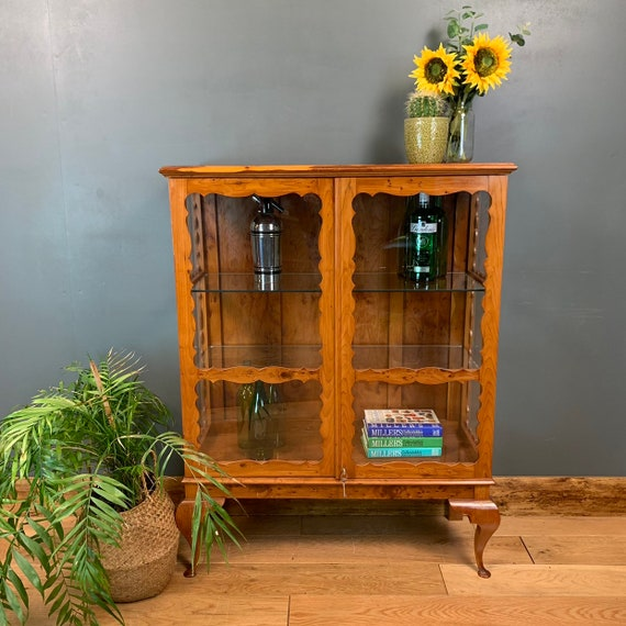 Yew Bookcase Display Case China Drinks Cocktail Cabinet Vintage Rustic Glazed