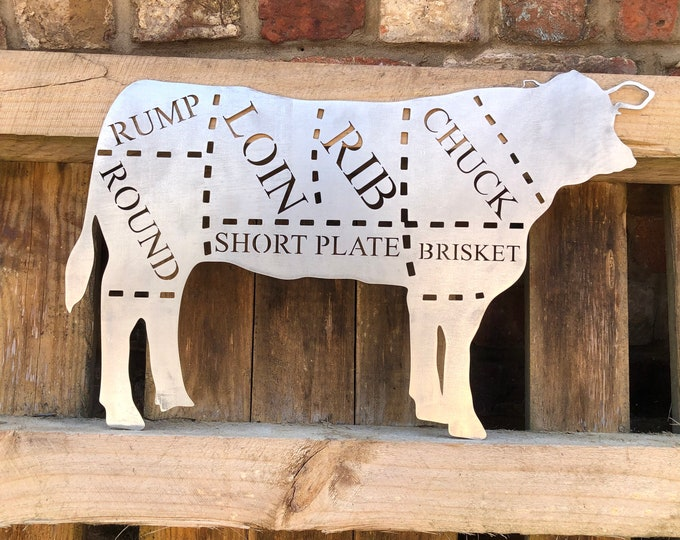 Steel COW Sign , Metal Shop Home sign , garden Ornament Farmyard,  Butchers cut sign, Animal cuts Beef BBQ sign , kitchen sign