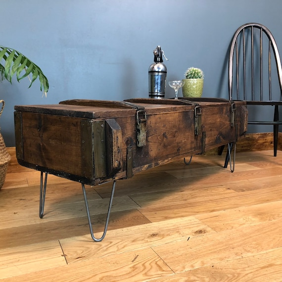A Vintage wooden Trunk Chest box Rustic Industrial Coffee table Upcycled reclaimed