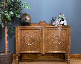 Vintage Oak Sideboard / Oak Drinks Cabinet / Oak Buffet Server / Home Bar