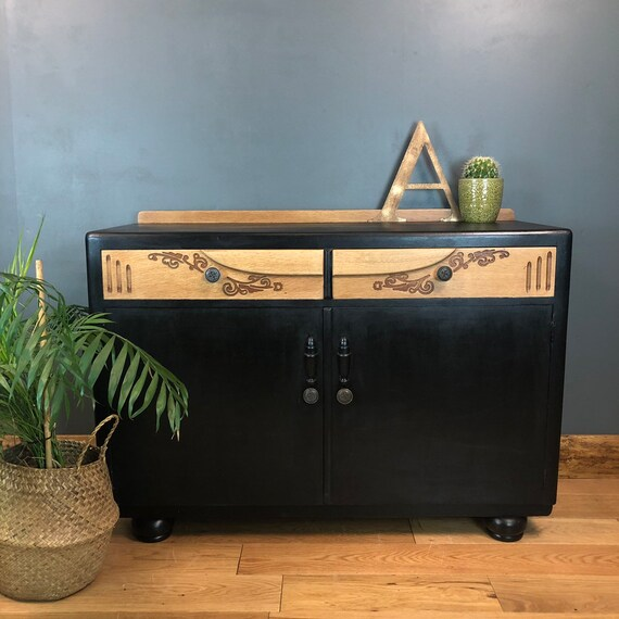 Rustic Retro Shabby Chic Painted Sideboard Cupboard Drawers Vintage Black