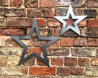 2 galvanised steel metal barn Stars Sign set , metal stars , Shabby Chic signs , Rustic Decoration , House , Home , Garden Feature ornaments