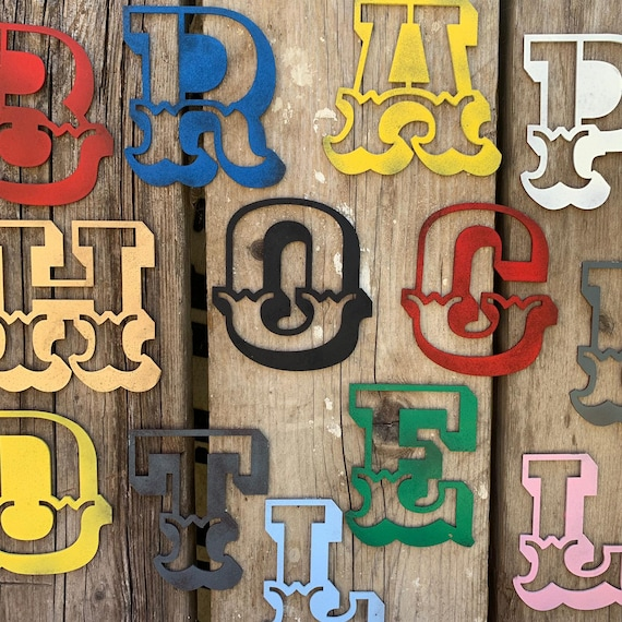 """5"""" AND 12"""" Coloured CARNIVAL metal alphabet letters, shop signs, initials, house name, lettering, rusted, industrial, vintage, home, love"""