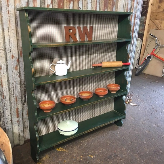 Rustic Oak Painted Plate Rack Shelves Green Country Kitchen Farmhouse