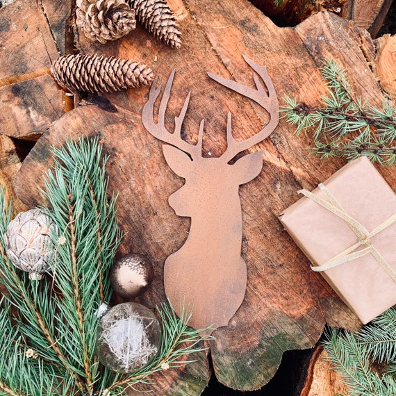 Rustic RUSTY STAGS HEAD Metal Christmas Decoration Antlers Sign Metal Shop Home