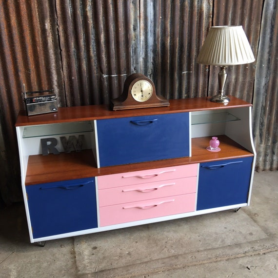 Vintage Retro Low Sideboard Mid Century Upcycled Hairpin Legs Funky Pop