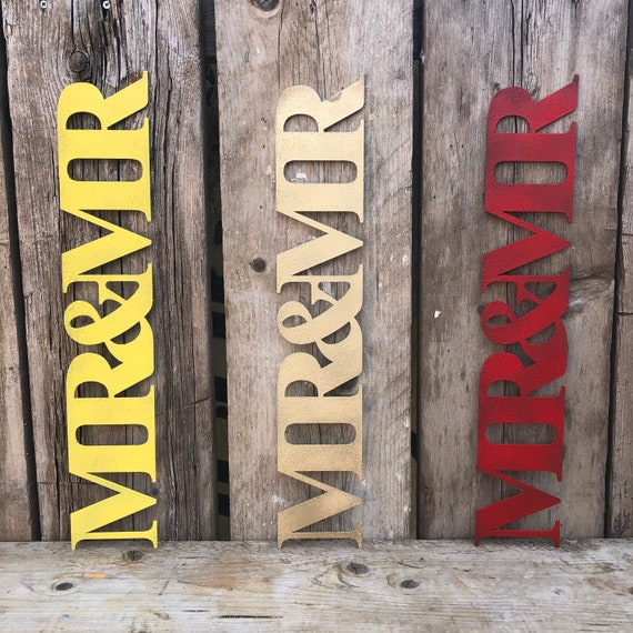 Rustic colourful MR AND MR sign decoration ornament home & wedding love hope shabby chic
