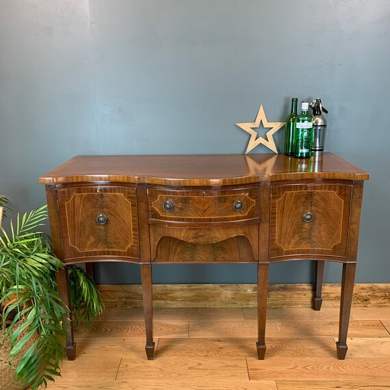 Vintage Serpentine Sideboard Hallway Table Console  Mahogany Cupboard Drawers