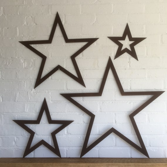 4 rusty Stars Sign set Metal Shabby Chic Rustic Decoration House Home Garden Feature Traditional Vintage Barn