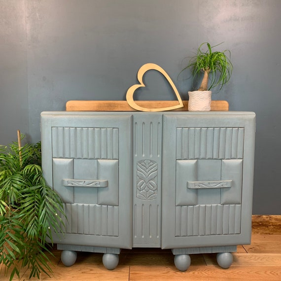 Shabby Chic Painted Art Deco Sideboard Drinks Cupboard Drawers Vintage Blue grey