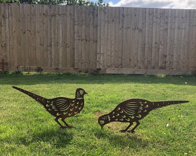 2 Rusty Metal pheasants garden ornaments , garden statue , garden feature , rustic garden decor , lawn decorations , garden signs , wildlife