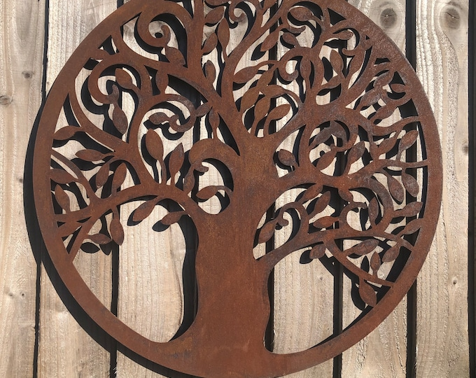 Rusted Rustic TREE OF LIFE Sign , Rusty Metal Garden Ornament  ,  Wall Decoration  , Fence feature , rustic garden decor ,