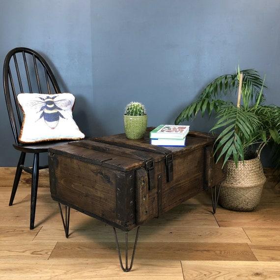 Rustic Small Pine Industrial Coffee Side Table Hairpin Legs Vintage Shoe Storage