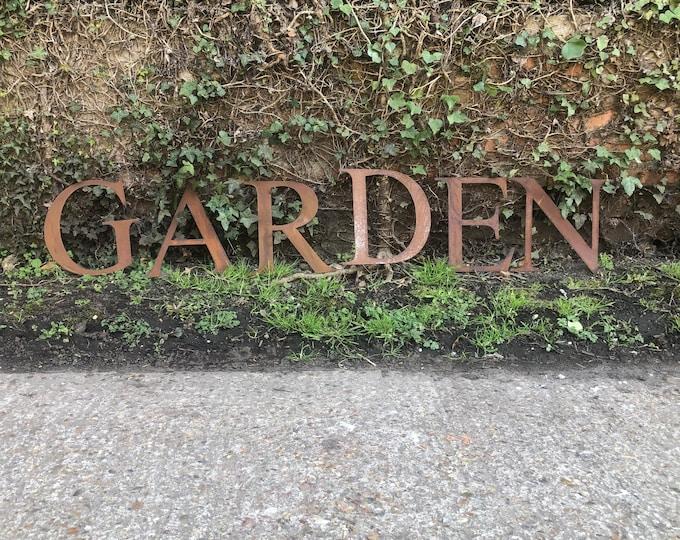 GARDEN SIGN , Rusty metal letters , garden decor , rustic lettering, rusted metal lettering , garden feature , garden ornament