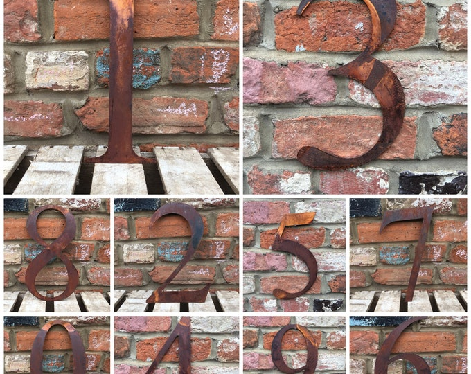 Large RUSTED Metal HOUSE NUMBERS , garden Decor , shop signage , rusty metal numbers .