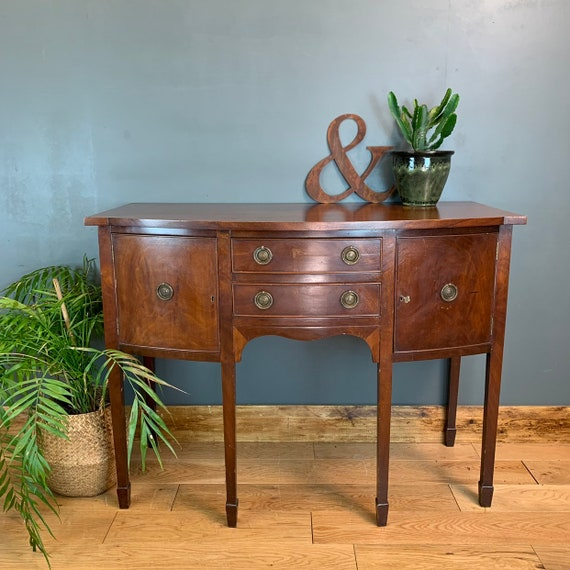 A Antique Sideboard Serpentine Mahogany Cupboard Drawers Buffet Server