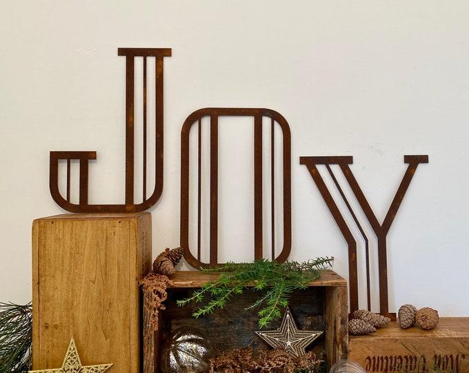 "JOY Christmas Decorations /Rusty Metal Letters / Art Deco Font 12"" /Xmas Decor / vintage style decorations"
