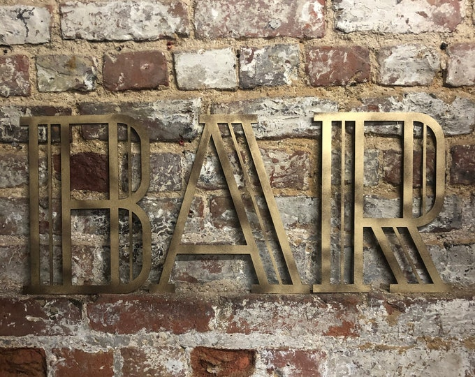 Gold ART DECO BAR sign , Rusty metal letters , home bar sign , garden sign , rustic lettering, gold metal lettering , drinks sign