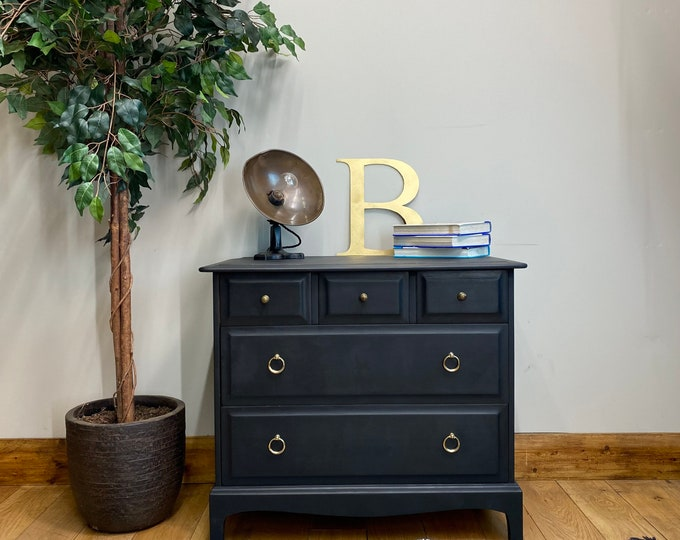 Retro Black Chest Of Drawers / STAG Drawers / Vintage Bedroom Drawers / Storage