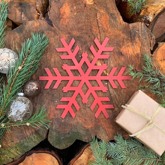Rustic Shabby Chic RED Nordic SNOWFLAKE Sign Metal Shop Christmas decoration
