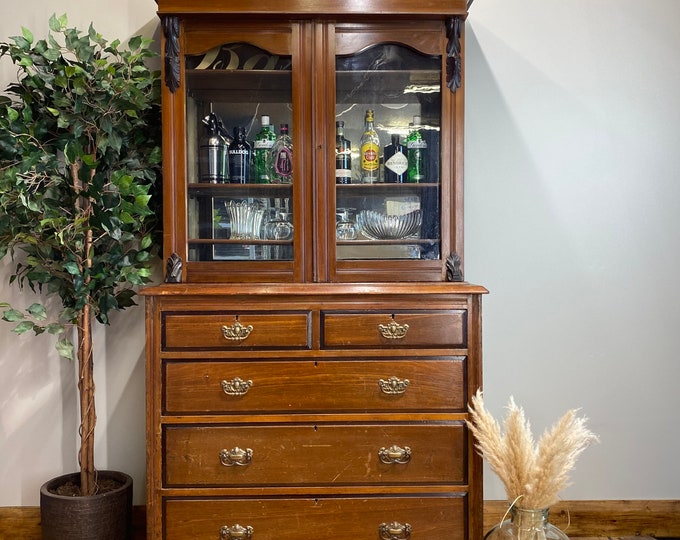 Antique Mahogany Library Bookcase / Large Glazed Cabinet /Display Drinks Cabinet