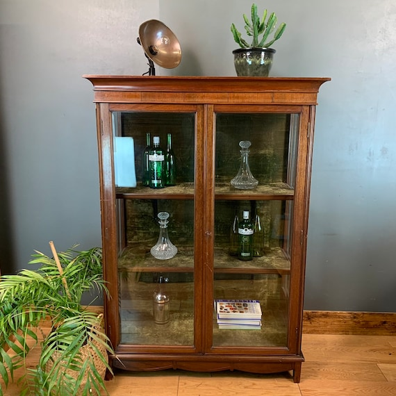 Antique Victorian Mahogany China Cabinet Rustic Vintage Cocktail Cupboard Glazed