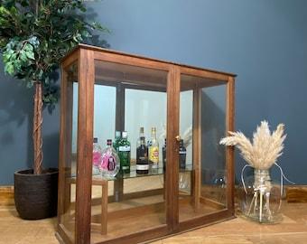Vintage Display Cabinet / Cocktail Cabinet /Glazed Oak Cupboard  / Display Case / antique furniture / rustic furniture / Home Bar