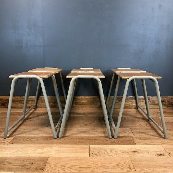6 Vintage Retro School Science Lab Art Room Stacking Stools Industrial Chic Wood