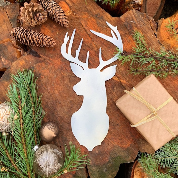 Rustic White STAGS HEAD Metal Christmas Decoration Antlers Sign Metal Shop Home